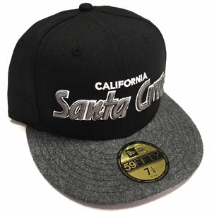 "SFC ""SANTA CRUZ CA"" FITTED HAT (BLACK/MELTON GREY WOOL)"