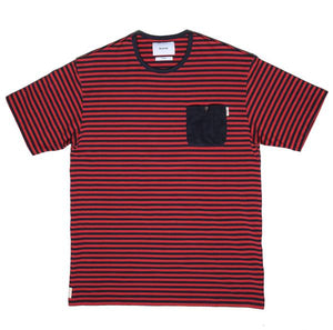 "KENNEDY ""STRIPED CORDUROY"" POCKET TEE (RED/NAVY)"