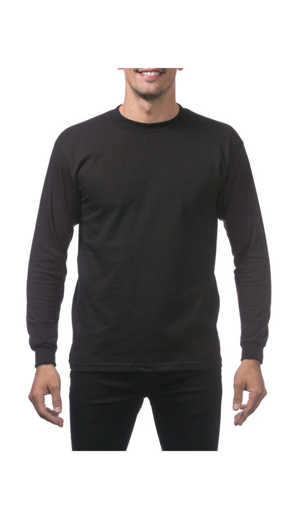PRO CLUB HEAVY WEIGHT L/S TEE (BLACK)