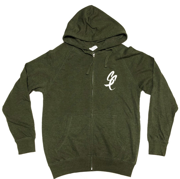 "SFC "" SC SCRIPT"" FRENCH TERRY ZIP HOODIE (ARMY HEATHER)"