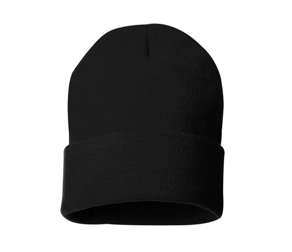 BLANK 12in CUFF BEANIE (BLACK)