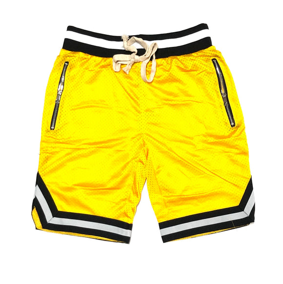 WEIV BLANK MESH SHORTS (YELLOW/BLACK)