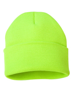 BLANK 12in CUFF BEANIE (SAFETY GREEN)