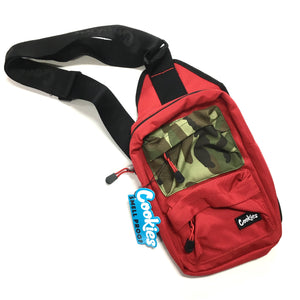 "COOKIES ""RACK PACK"" SMELL PROOF SHOULDER/SLING BAG (RED/CAMO)"