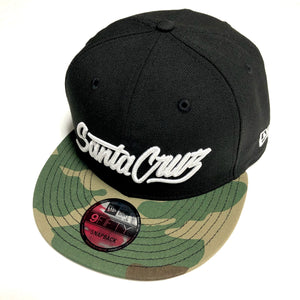 "SFC ""SANTA CRUZ SCRIPT"" NEW ERA SNAPBACK (BLACK/CAMO)"