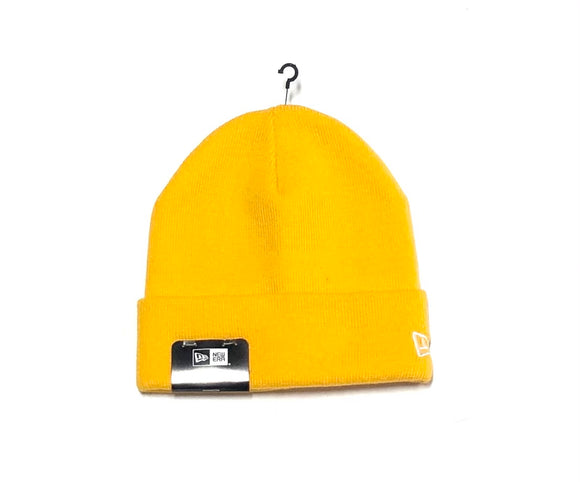 "NEW ERA ""BLANK SIDE LOGO"" KNIT CUFF BEANIE (GOLD)"