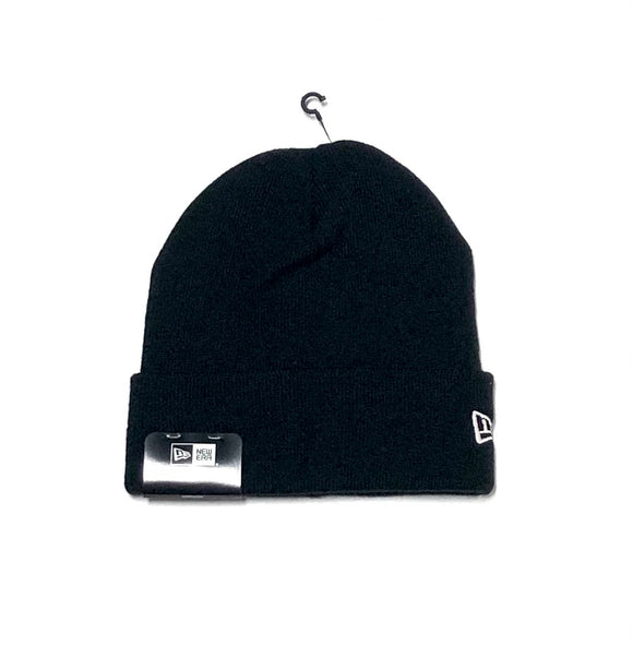 "NEW ERA ""BLANK SIDE LOGO"" KNIT CUFF BEANIE (BLACK)"