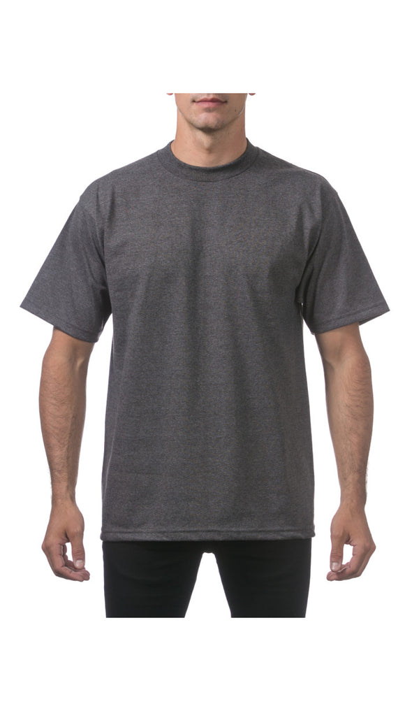 PRO CLUB HEAVY WEIGHT S/S TEE (CHARCOAL HEATHER GREY)