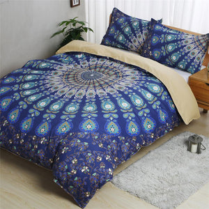 Blue Peacock Feather Bedding Set