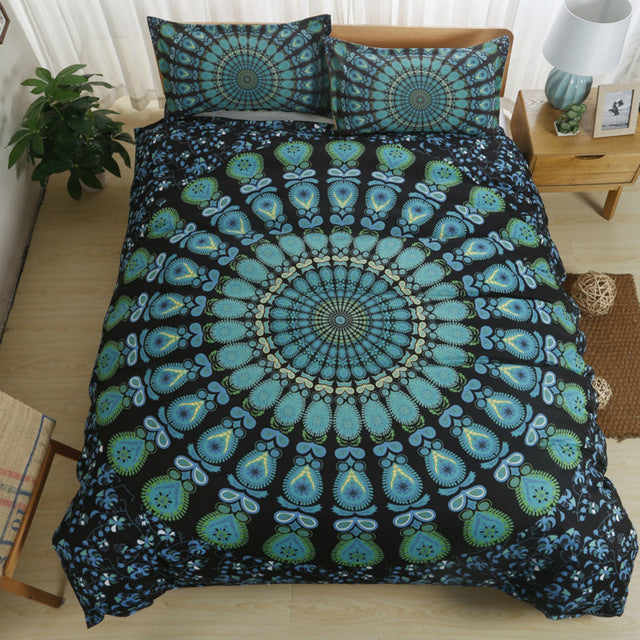 Turquoise Peacock Bedding Set