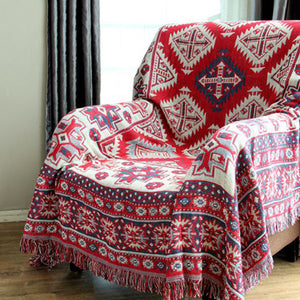 Bohemian Red Woven Sofa Bed Throw Blanket