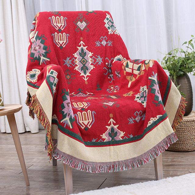 Geometric Pattern Woven Sofa Bed Throw Blankets
