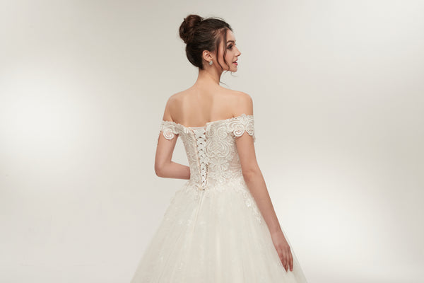 Off-shoulder Lace Appliques Top Organza Ball Gown, Ivory Wedding Dresses, WD0463
