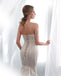 Mermaid Strapless Lace Appliques Lace up Back Wedding Dresses, WD0465