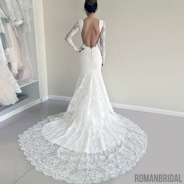 Newest white lace wedding dresses With Trailing, round neck Long Sleeve Sexy Wedding Dress, WD0307