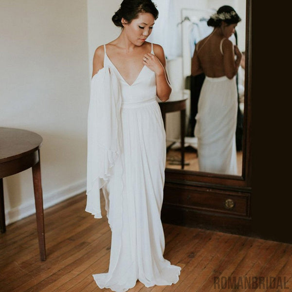 Hot selling Floor-length V-neck Sleeveless White prom dress, long Wedding Dress with train, WD0304