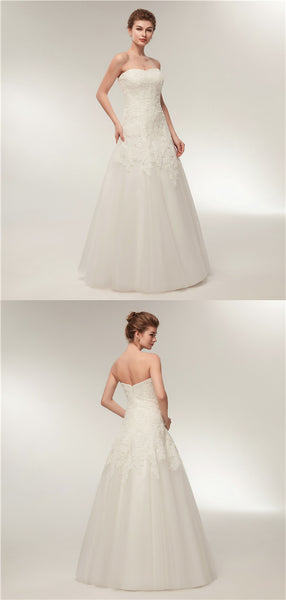 Sweetheart Floor-length Lace Simple Cheap Wedding Dresses, WD0461
