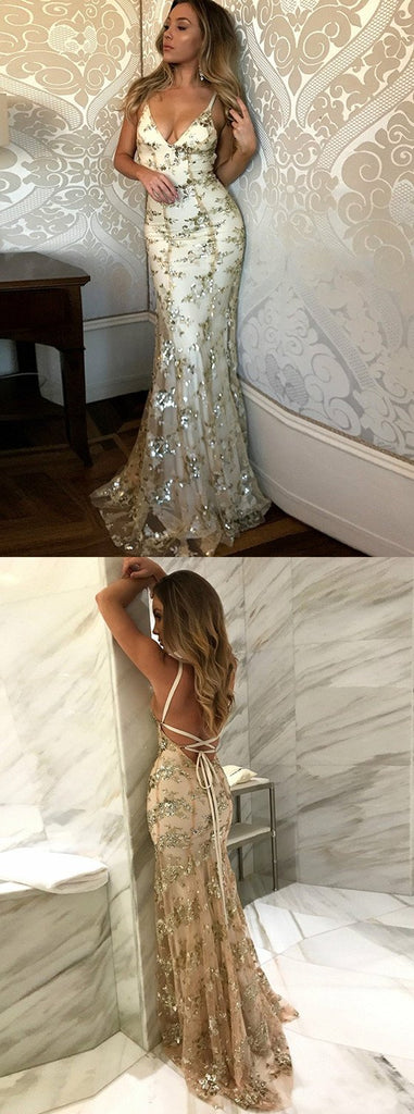 Newest Mermaid Spaghetti Straps Tulle With Sequins Long Prom Dress, PD0137