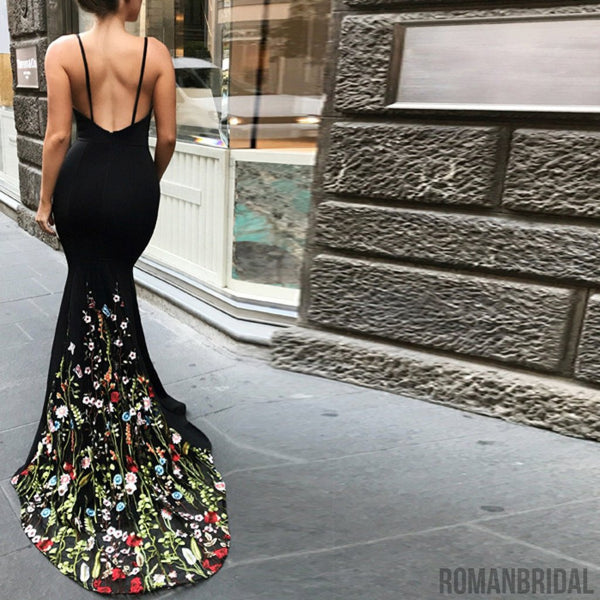 Popular Mermaid Spaghetti Straps V-Neck Appliques Long Elegant Cheap  Prom Dress Gown WG01