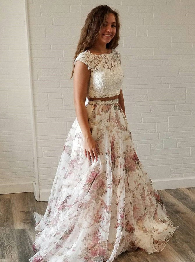 Two Piece Lace Top Beading Cap Sleeves Chiffon Prom Dress, PD0592
