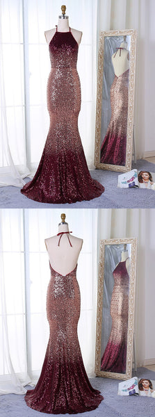 Newest Popular Mermaid Halter Backless Long Sequins Prom Dresses With Train, PD0556