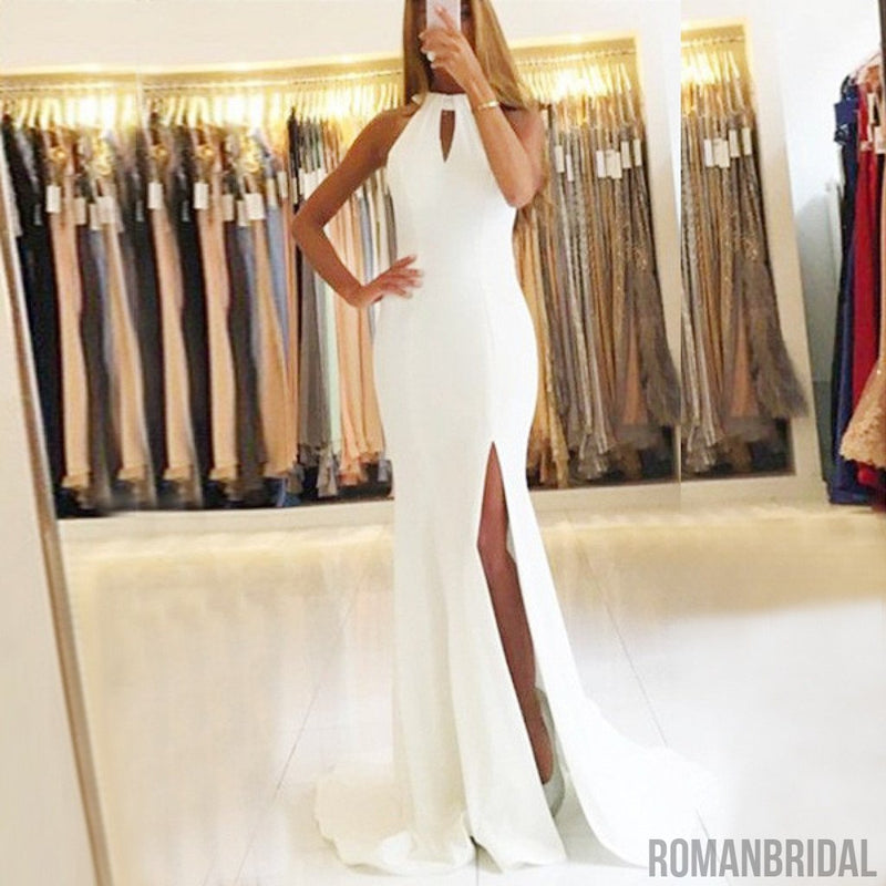 Hot selling Fashion Floor-length White Sleeveless sexy party gowns, long Prom Dress, PD0449