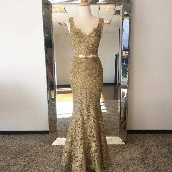 Two Piece Mermaid V-Neck Sweep Train Gold Lace Prom Dress, PD0646