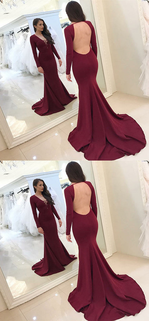 Mermaid V-Neck Sweep Train Backless Burgundy Prom Dress, PD0648
