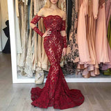 Mermaid Long Sleeves Dark Red Lace Prom Dresses With Train, PD0655