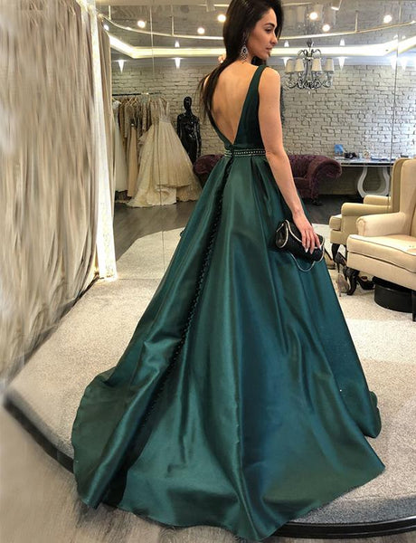 A-Line V-back Sleeveless Dark Green Beading Prom Dresses, PD0749