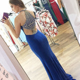 Mermaid Halter Sleeveless Royal Blue Beading Back Prom Dresses, PD0700