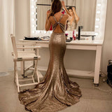 Mermaid V-Neck Open Back Sequins Prom Dress With Train, PD0651