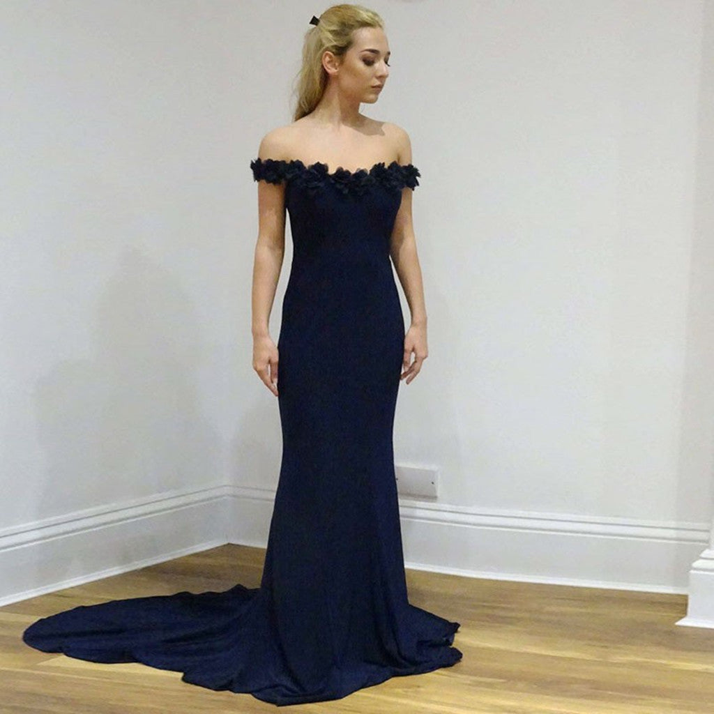 Mermaid Off-the-Shoulder Navy Blue Appliques Long Prom Dresses, PD0579