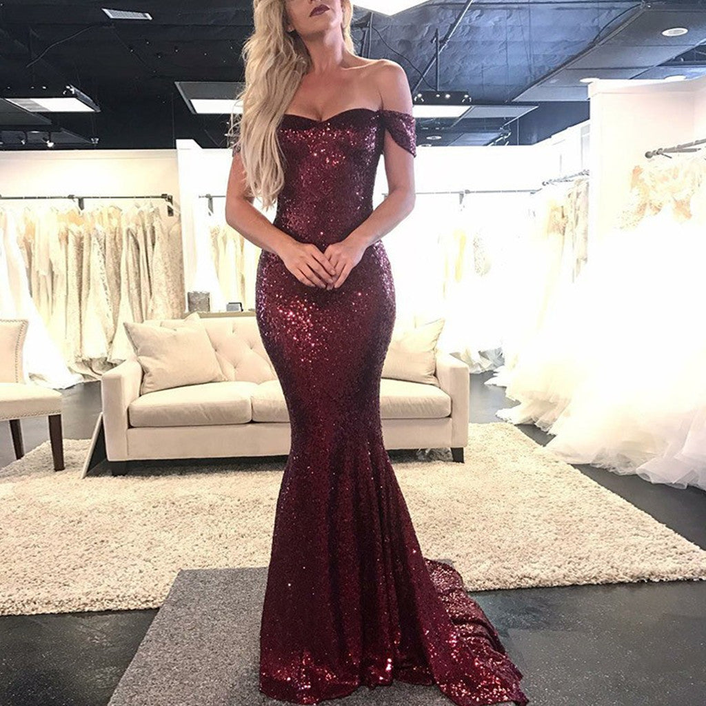 Mermaid Off-the-Shoulder Burgundy Sequins Long Prom Dresses, PD0580