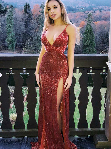 Sheath Spaghetti Straps V-neck Sexy Sequins Long Prom Dresses With Split, PD0765