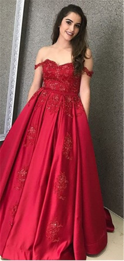 A-line Off-shoulder Lace Appliques Long Red Satin Prom Dresses, PD0766