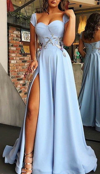 A-line Sweetheart Cap Sleeves Appliques Light Blue Prom Dresses, PD0699