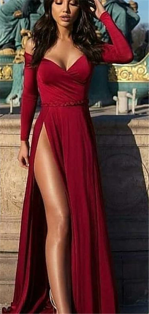 Off-shoulder Long Sleeves Red Prom Dresses With High Split, PD0753