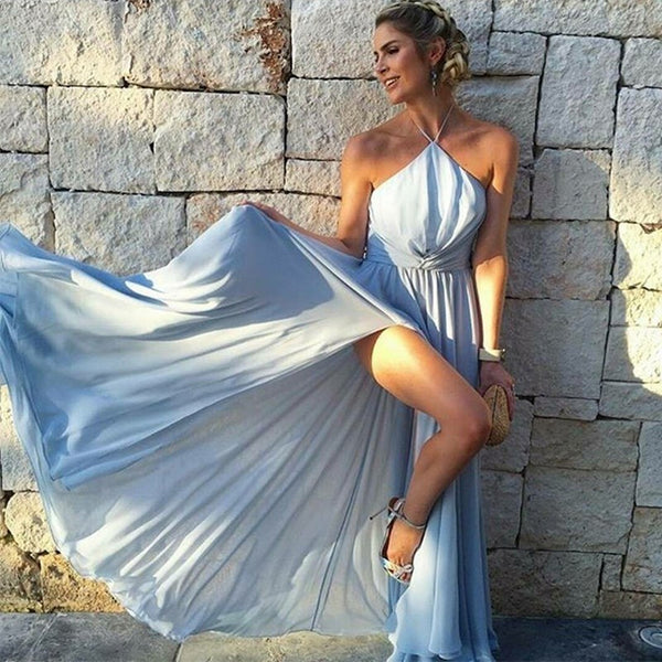 A-Line Halter Sleeveless Light Blue Chiffon Prom Dresses With Split, PD0698