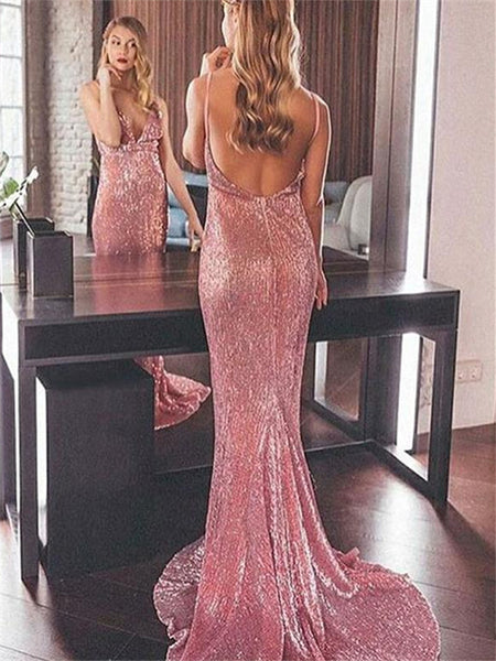 Mermaid Spaghetti Straps V-neck Backless Prom Dresses, PD0748