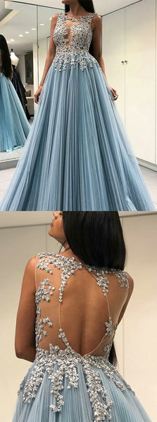 A-Line Sleeveless Appliques Open-back Prom Dresses With Pleats, PD0668