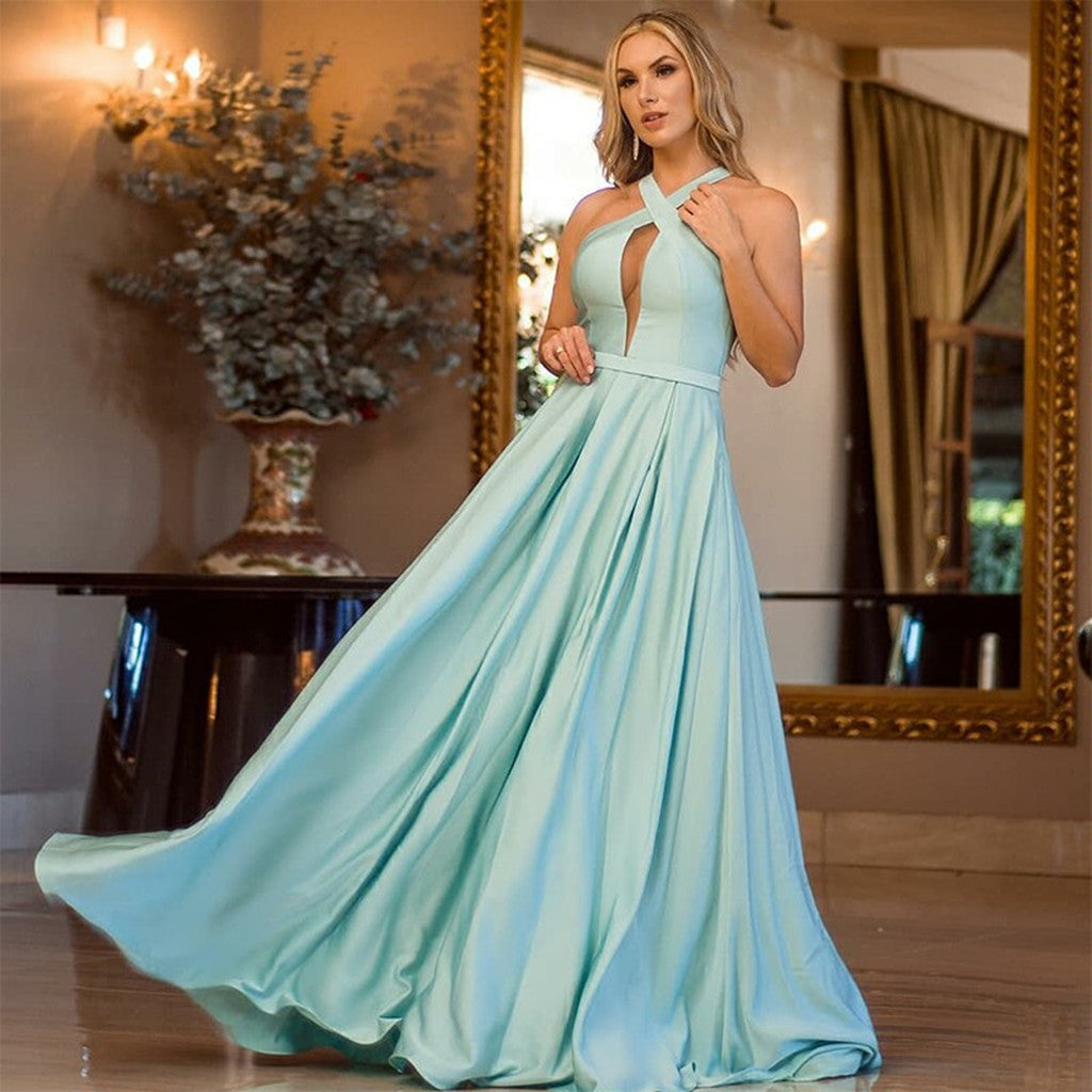 A-line Halter Simple Mint Green Prom Dress With Pleats, PD0709