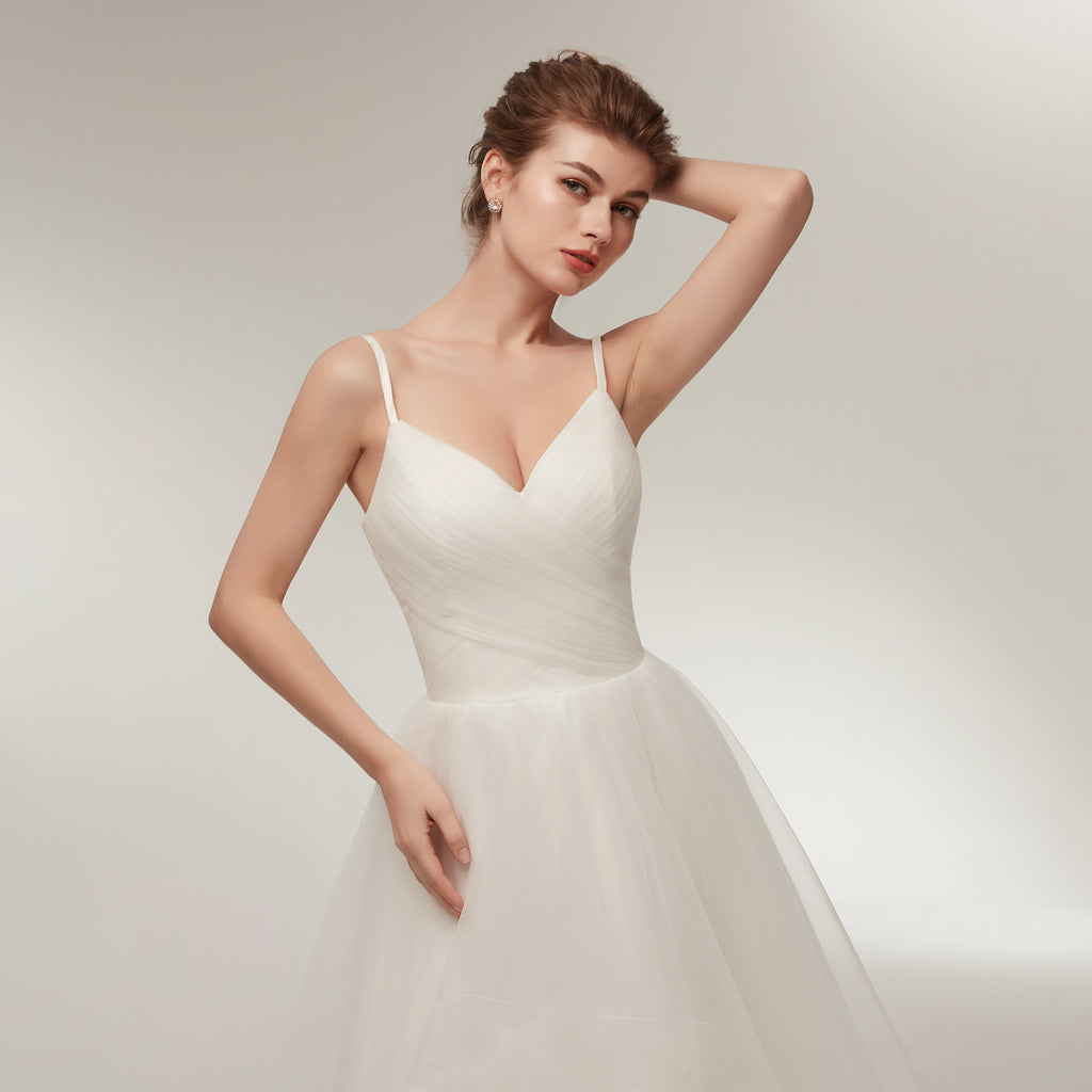 Spaghetti Straps V-neck Lace up Back Long Organza Wedding Dresses, WD0460