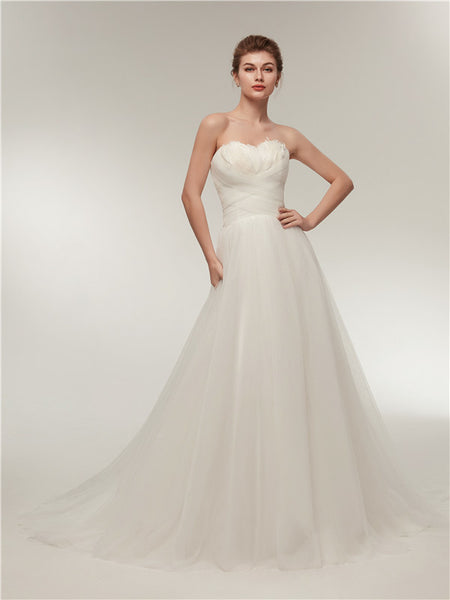 Sweetheart Ivory Tulle Lace up back Wedding Dresses With Train, WD0458