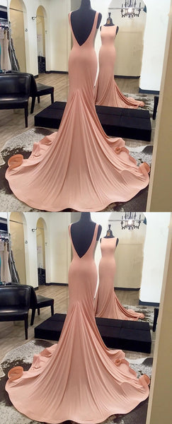 Round Neck Backless Simple Cheap Prom Dresses With Train, PD0587