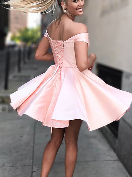 Off-shoulder Simple Pink Satin Lace-up Back Homecoming Dresses, HD0526