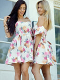 New Arrival A-line Off-shoulder Cute Short Homecoming Dresses, HD0523