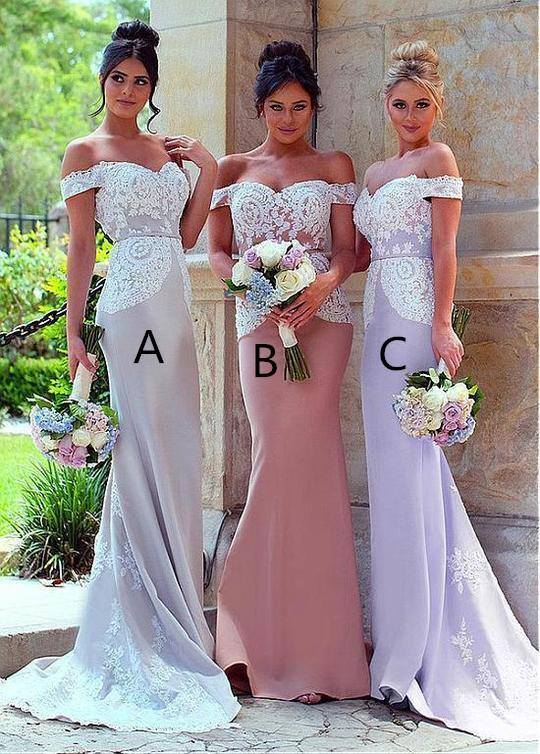 Mermaid Off-shoulder Lace Appliques Long Bridesmaid Dresses, BD0582