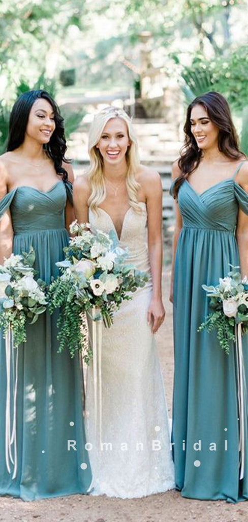 A-Line Off The Shoulder Spaghetti Straps Chiffon Long Bridesmaid Dresses With Pleats,RBWG0010