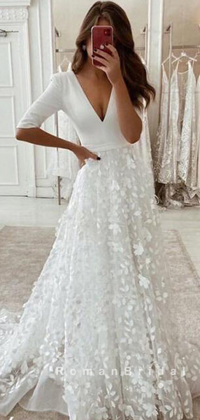 A-Line V-Neck 3/4 Sleeves Long Wedding Dresses With Lace,RBWD0010